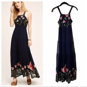 Anthropologie Floreat Tulipan navy maxi dress